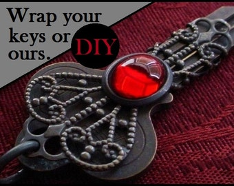 DIY Kit See Options Filigree Wrap Solid Brass Vintage Victorian Key 10x8 mm Siam Ruby Oxidize Dark Bronze Antique Patina Jewelry Finding 6QR