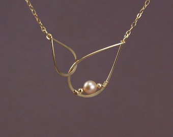 Infinity Necklace with Champagne Freshwater Pearl - 14K Gold Filled