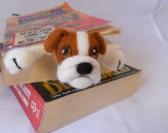 Splat - Bulldog bookmark - needle felted plushie puppy