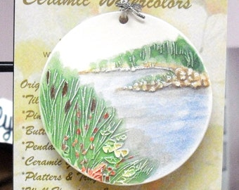 River's Edge Ceramic-Watercolor wall or tree ORNAMENT plus free gift wrap, original, 100% handmade
