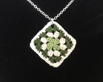 Granny Square Crochet Necklace