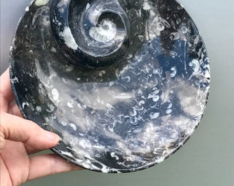 Vintage Morocan Granite Tray Granite Triblet Bowl Polished Ammonite Fossil
