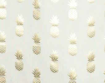 Cotton Mix Fabric Golden Pineapple On White
