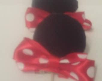 Minnie Mouse Ears Hair Clips