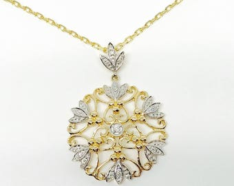 Antique Edwardian Style Diamond pendant in 14K gold with link chain in 9K gold (new)
