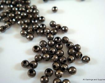 250 Black Spacer Beads 2mm Gunmetal Plated Iron Metal Beads 1mm hole  - 4.5 grams - M7046-B250