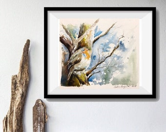 Watercolor original painting - Robin perched in tree Garden (bird watercolor painting bird redrobin nature)