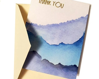 Thank You Cards - Gold Embossed with Watercolor Waves - Wedding, Birthday, Blank Card