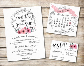Floral Wedding Invitation, Save the date, and RSVP