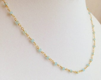 Elegant Gold and Chalcedony Necklace and Earring Set