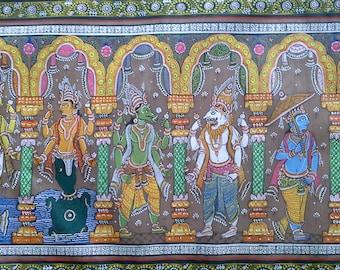 Patachitra painting 10 avatars of Lord Vishnu; Orissa; Puri; ethnic; tribal; vintage; Dasavataram, Yoga, Tantra, spiritual