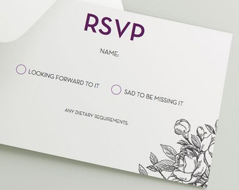 Printable Wedding RSVP Download 'Rose' // DIY template // Word Mac or PC // 5 x 3.5 // Change artwork colour // Luxury Design