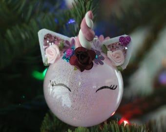 Unicorn Ornament, Christmas Ornament, Holiday Ornament, Customizable