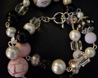 Pink and black chunky bracelet