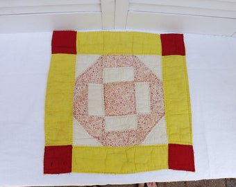 """vintage cut quilt piece, vintage tattered quilted square, old shabby quilt square, handquilted square 14-1/2"""", salvaged piece from old quilt"""