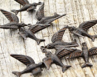 2 Bird Charms, Brown Bird, Swallow, Rustic Bird, Mockingbird, Blackbird, Patina Bird, Antiqued Bird, Bird Stamping, Brass Stamping