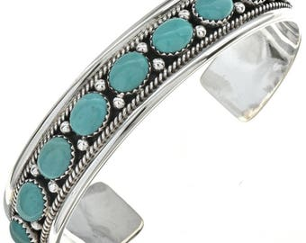 Turquoise Silver Bracelet Native American Handmade