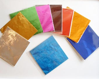 45-50 Square Foil Wrappers for Chocolates & Sweets 80mm x80mm 9 colours Mixed