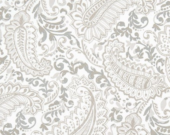 Taupe and Gray Contemporary Paisley Print Cotton Fabric by the Yard Designer Drapery Curtain or Upholstery Fabric Tan and Gray Fabric M223