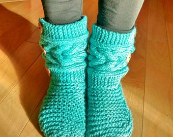 Women's slippers, Bootie, handknit