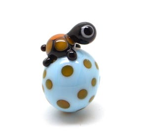Lampwork Pearl (small) Turtle Turquoise/topaz-1 piece