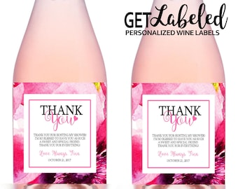 Hostess Thank You Champagne Labels, 5x3 Inch, Printable Baby Shower Hostess  Thank You Gift