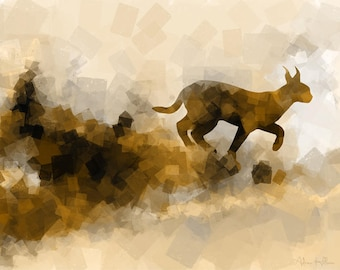 Caracal on the Move – Abstract Art - Original Wildlife Art - Downloadable Art Print - Instant Download - Exclusive