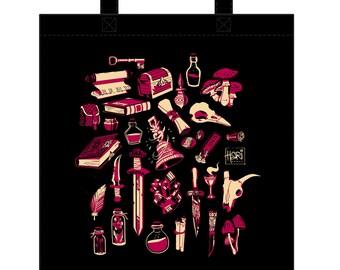 Inventory tote bag - Screenprinted bag with fantasy illustration
