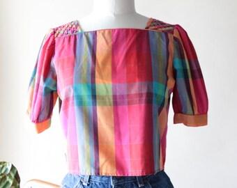 Vintage Pink Plaid Cropped Blouse Top,
