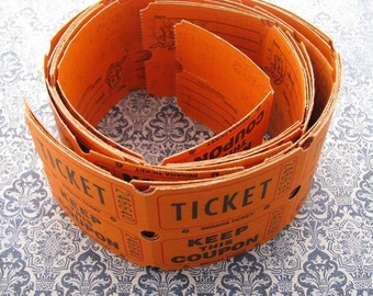 Vintage Orange Raffle Tickets