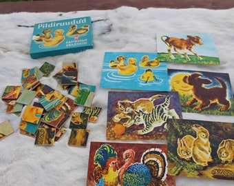 Vintage puzzle 1977 Soviet vintage wooden puzzle Retro puzzle Animal puzzle Soviet kids puzzle