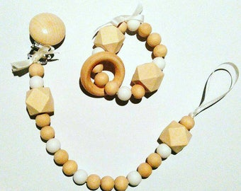 Duo ring teether and attached matching nipple - white - bpa free silicone and natural wood beads