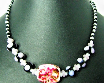 Flowery Lampwork Focal Beaded Necklace With Lampwork Support Beads - Item 887 N