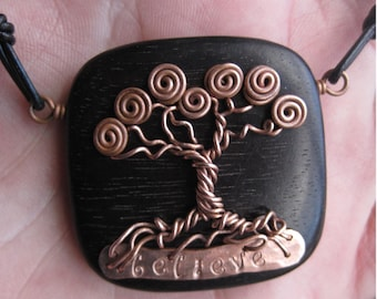 Tree Of Life - Made to order- Tiger Ebony Wood and Copper Wire - Whimsical - With your personalized  inspirational word or name
