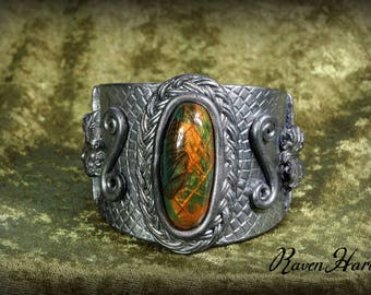 Handmade Antique Silver Polymer Clay Cuff Bracelet  with Faux Labradorite Stone