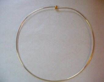 Neckwire, Rigid, Gold Finished, Brass, 1mm, wire, with 3 Point 5mm, threaded ball screw, 16 inches long, Sold Individually.