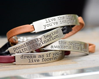 Inspirational Bracelet, Leather Bracelet, Inspirational Jewelry, Motivational Jewelry, Best Friend Gift, Stackable Bracelets, Boho Bracelet