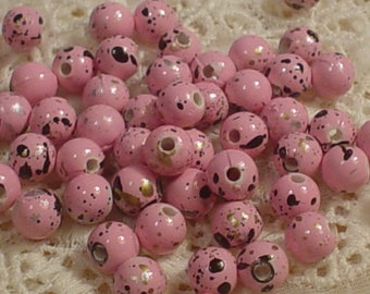 Pink Acrylic Beads Speckled with Black Gold Silver  6mm  50ea