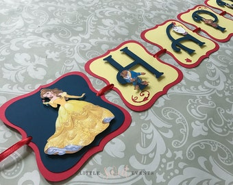Beauty and the Beast Birthday Banner, Beauty and the Beast Birthday, Beauty and the Beast Party Supply, Beauty and the Beast