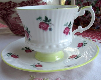 Teacup and Saucer Set, Elizabethan, Bone China, Pink and Yellow