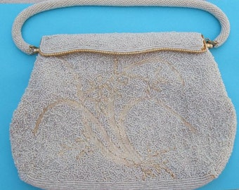 White and Ivory Vintage Beaded Purse - White Beaded Evening Bag