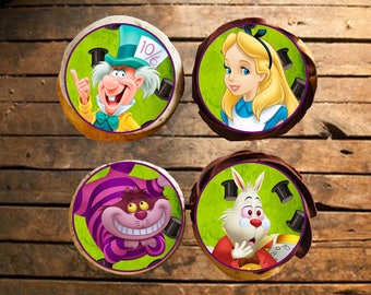 Alice in Wonderland Edible Cupcake Toppers