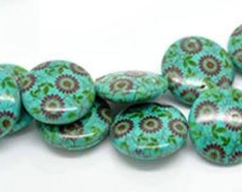 1 blue pattern 6 flower 25 mm stone puck bead
