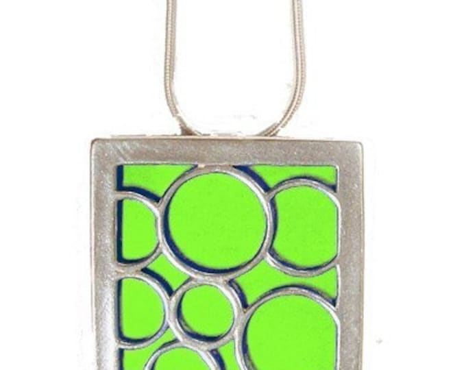recycled aluminum/silver Lime Large square bubble pendant