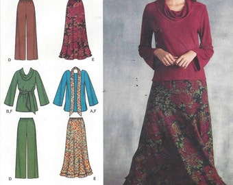 Simplicity Sewing Pattern 3568 Womens Pullover Top or Tunic, Pants, Skirt & Sash or Scarf Size 10 12 14 16 18 Bust 10 1/2 to 40 UnCut