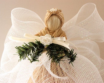 Christmas Decor - Raffia Angel - Christmas Tree Topper - White Raffia Angel w/ White Flower and White Freshwater Pearl Halo