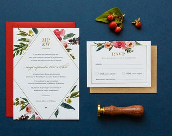 Invitation printable floral wedding Invitation, RSVP, flowers, watercolor, red, gold