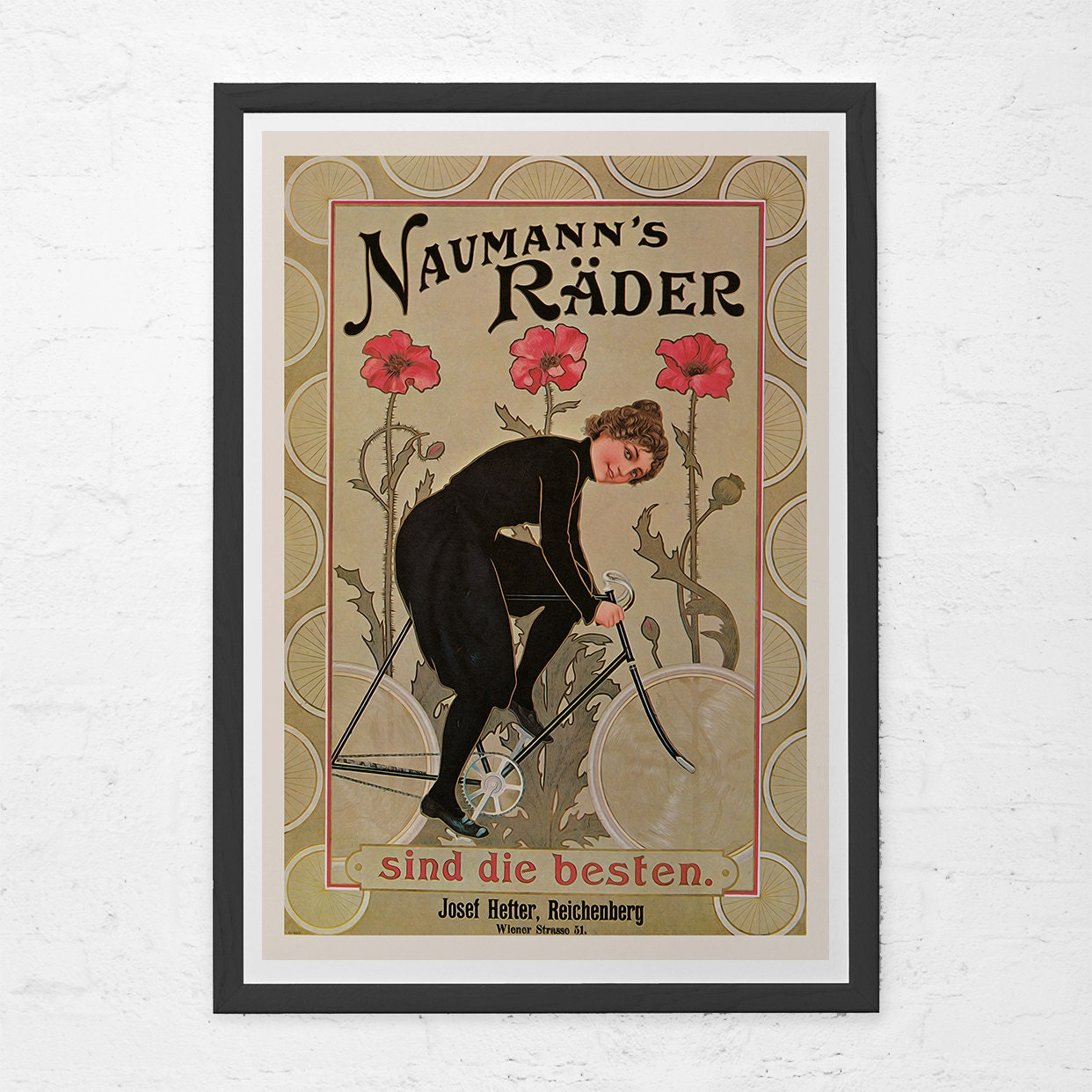ANTIQUE BICYCLE POSTER Old German Bicycle Poster Art