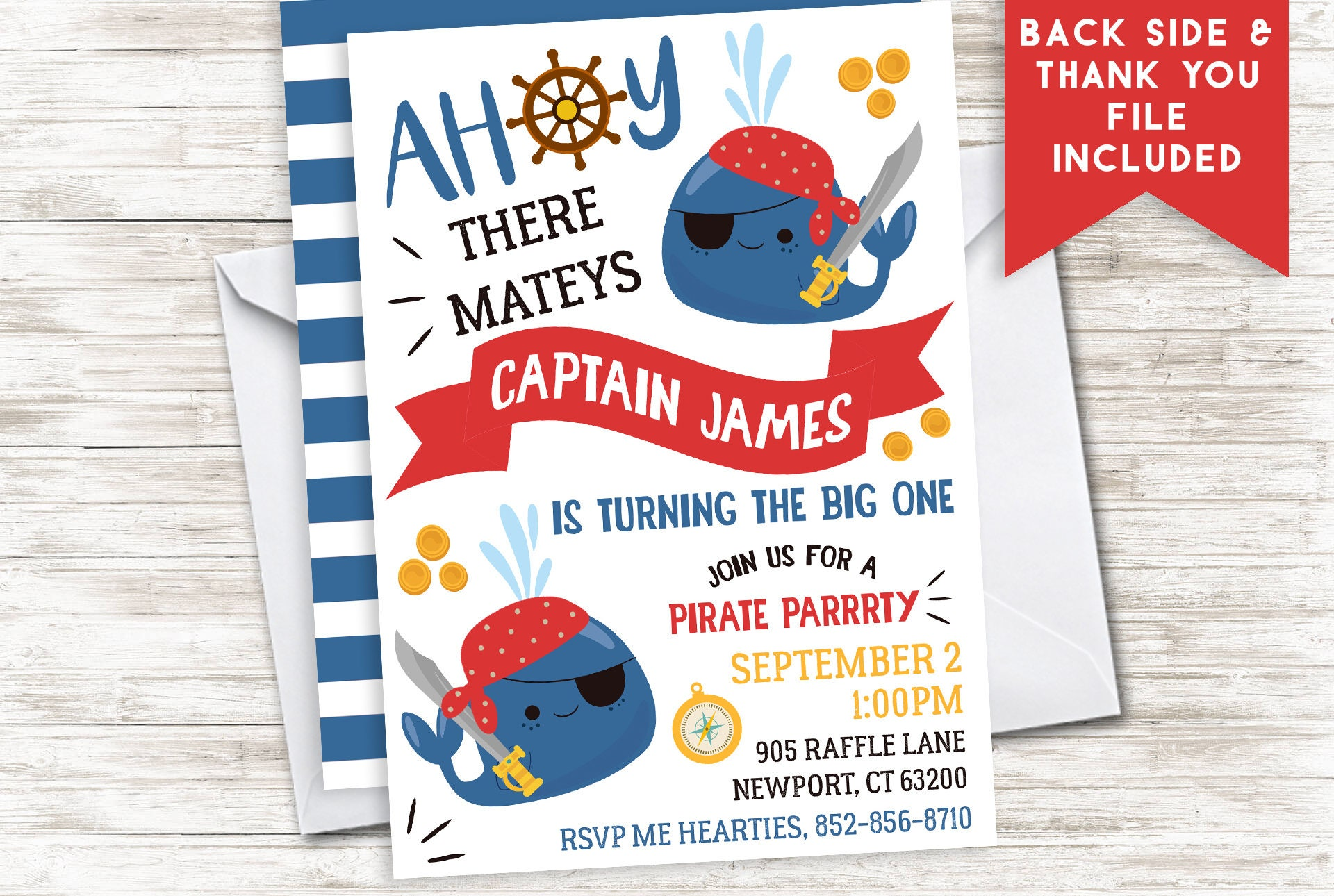 Pirate First Birthday Invitation Invite Whales Digital ANY AGE