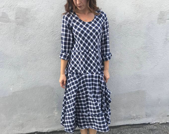 Black and white lagenlook dress in cotton